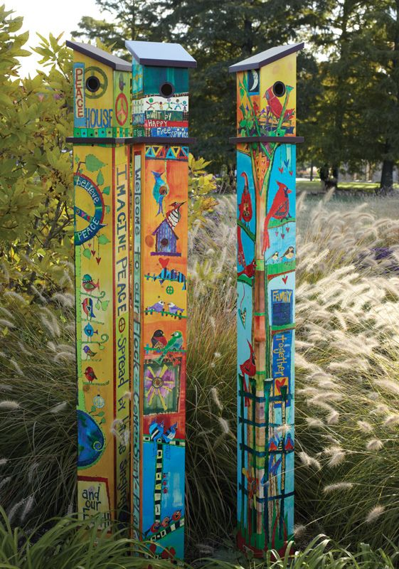 Studio M Birdhouse Poles by Stephanie Burgess- saw these in Sutton's Bay...possibly an option to add height to the front garden
