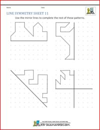 Line symmetry sheet with horizontal, vertical and diagonal mirror lines