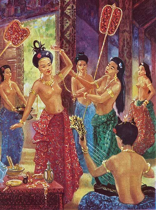 """""""Sparkling with the fire thrown by the gems of her jewels"""" - An inscription in the Temple of Ban Theat describes the brilliance of a royal lady. Women of the royal palace by Maurice Fievet"""