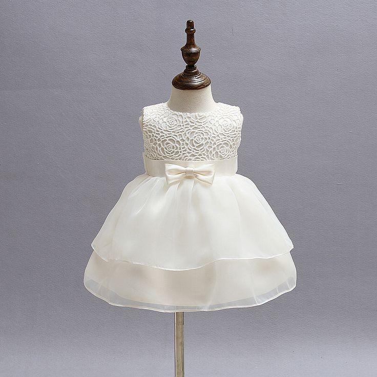 Newborn Girl Dress Beautiful Christening Gown White First Birthday Party Baby Chiffon Clothing
