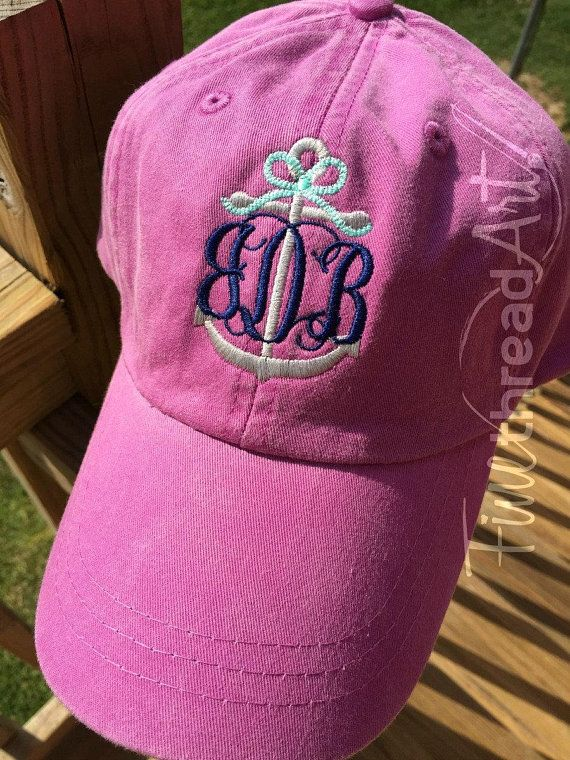 f40c650edfc LADIES or Adult Size Anchor Monogram with Rope Bow Baseball Cap Hat Leather  Strap Nautical Beach Cruise Ship Boat Coast Vacation Girls Trip