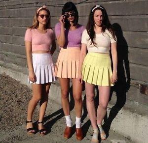Verano-sale-street-Moda-Mujer-alta-cintura-BLANCO-PLISADO-Pelota-Tenis-Falda-Hombre