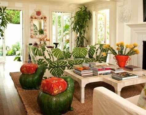 Charming Lush Living With Tropical Living Room Decor Part 26