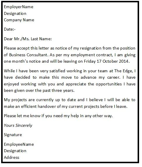 Best  Standard Resignation Letter Ideas On