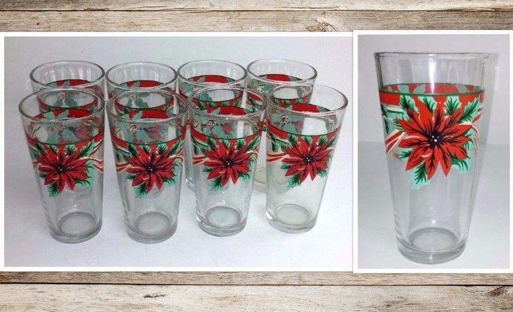 Poinsettia Drinking Glasses 8 Pieces KIG Indonesia Christmas Holiday Swanky  #KIGIndonesia #Christmas