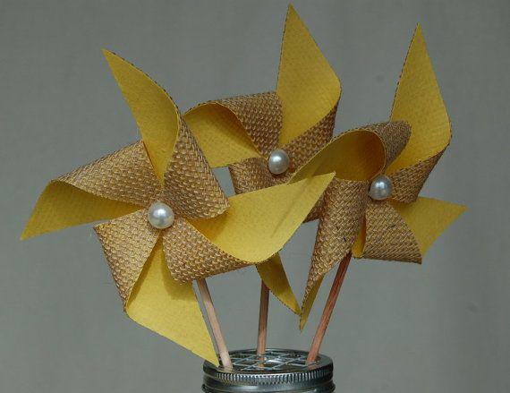 Yellow Rustic Burlap Pinwheel Wedding Decoration by SewSoapy, $12.00