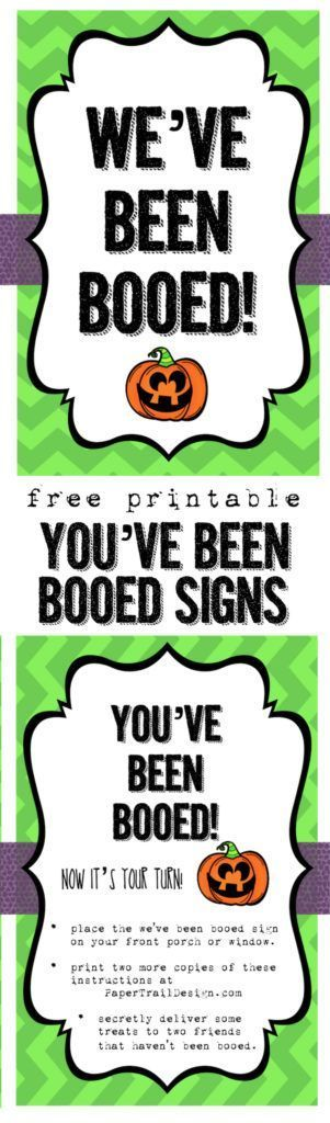 You've been booed free printable sign. Start the Halloween we've been booed game. Free printables including a sign that says you have been booed for your front window.