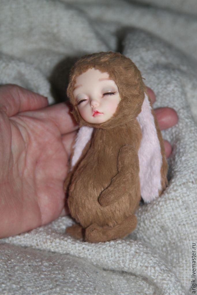 Купить Тедди долл Зайка - коричневый, тедди, теддидолл, кукла ручной работы, малыш