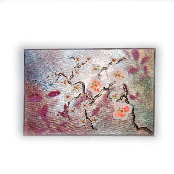 "Cherry blossoms Art Original small Painting 36 by KSAVERA 8""x12"" Flowers Art Nouveau Sakura painting on canvas birthday for mom her by KsaveraART #TrendingEtsy"