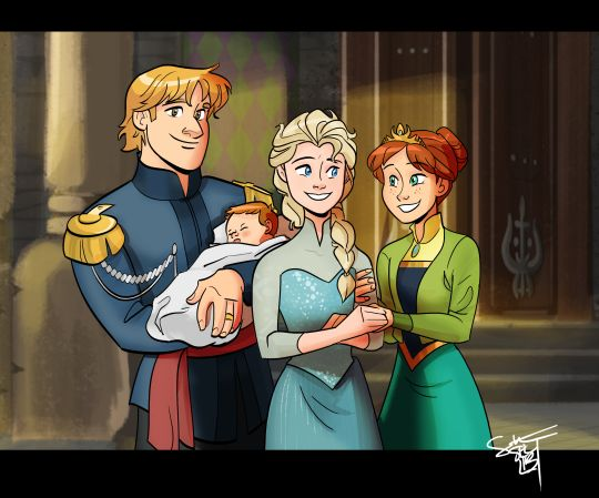 The royal Arendelle family. Queen Elsa, Princess Anna, Prince Kristoff, and their newborn royal baby.