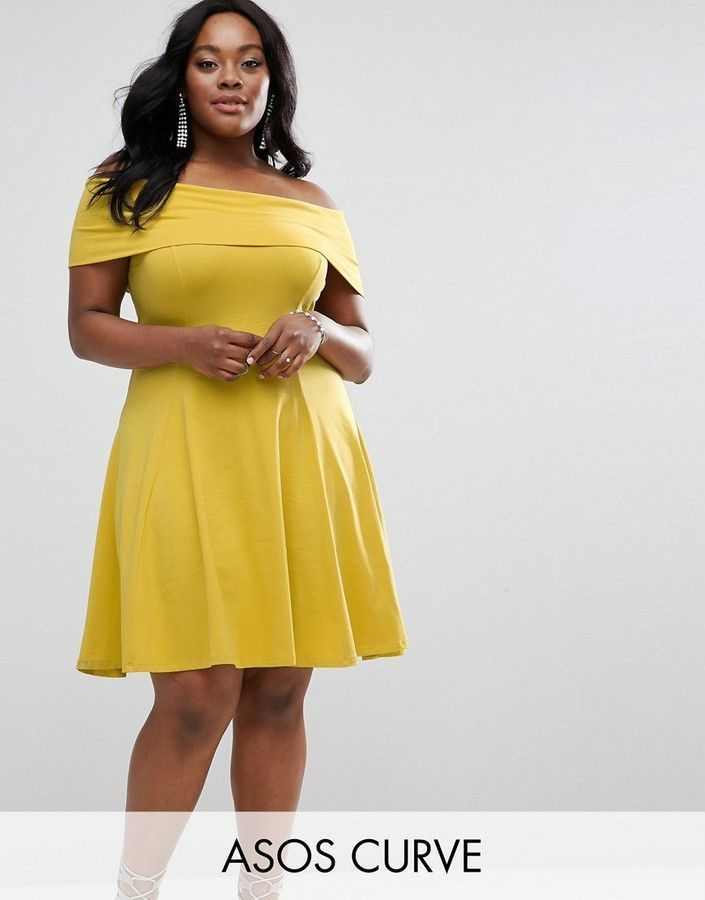 ASOS CURVE ASOS CURVE DEEP BARDOT MINI SKATER DRESS - Plus-size dress by ASOS CURVE, Cotton-stretch fabric, Bardot neck, Deep-fold front, Fit-and-flare style, Regular fit - true to size. Mustard. Off the shoulder dress. (affiliate link) SPRING & SUMMER FA