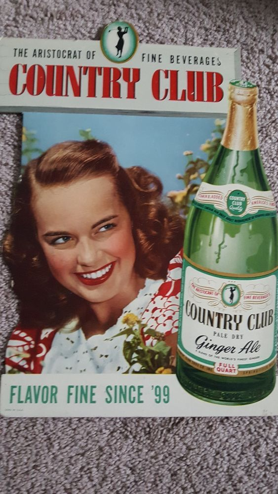 Vintage Country Club Ginger Ale Advertising sign,Springfield,Mass.
