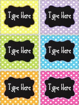 Editable Chalkboard & Bright Polka Dot Labels contains 6 labels in Polka Dot theme.By purchasing this product, you will receive a PowerPoint file and you will need to have POWERPOINT to add your own text ,use any font or color you want.