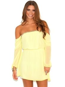 Neon Nights Off the Shoulder Dress