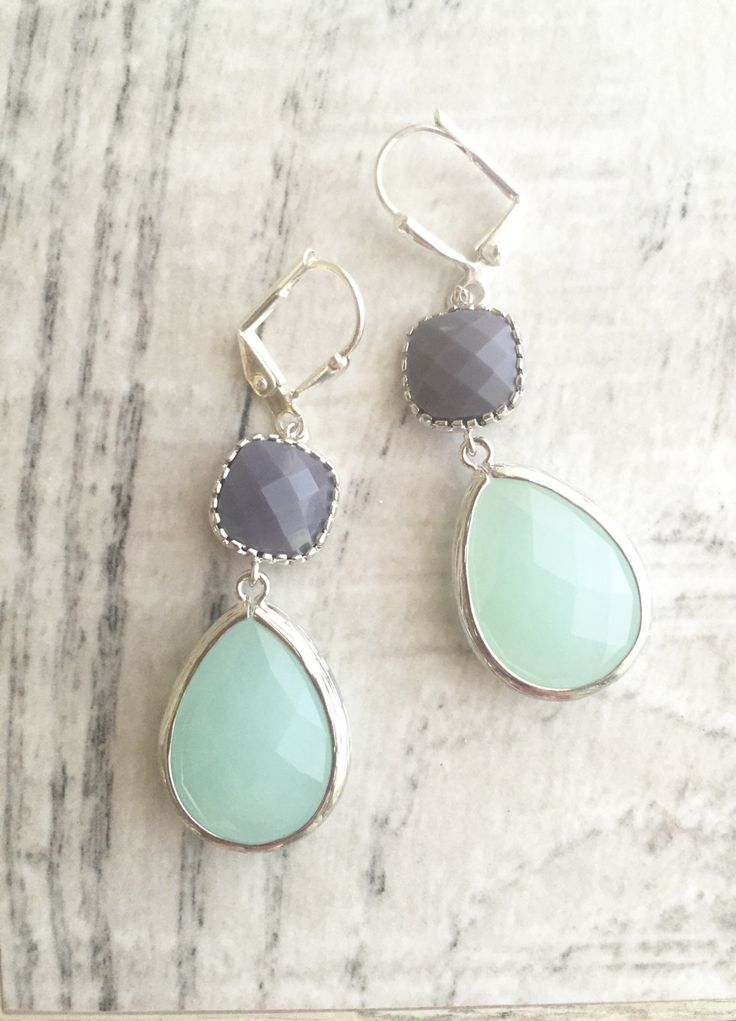 Cloudy Mint and Opaque Grey Dangle Earrings in Silver.  Bridesmaid Earrings. Dangle Earrings. Mint Drop Earrings. Wedding Jewelry. Bridal.
