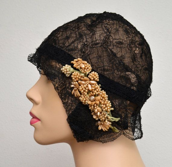 Vintage 20s Cloche // 1920s Black Lace Flapper Hat // Gatsby Cloche with Ivory Wax Flowers // H. Liebes & Co. via Etsy