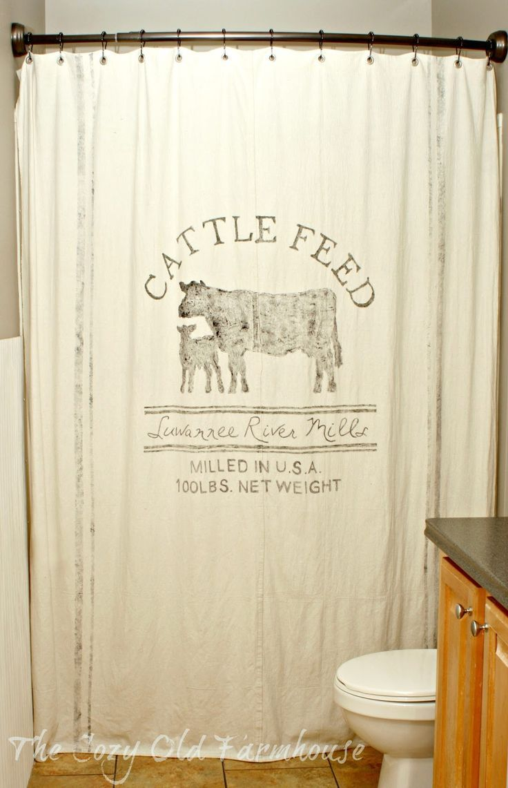 "The Cozy Old ""Farmhouse"": Painter's Dropcloth Becomes DIY Grain Sack Shower Curtain"