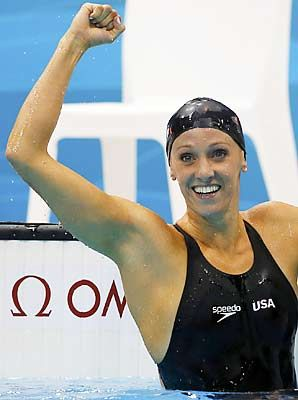 Dana Vollmer broke a world record in the 100 fly, held when full body suits were still legal, with an astounding 55.98! She even lost one of her caps mid-race, but still powered through to win gold for the USA.