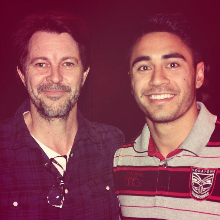 BERNARD FANNING   Vodafone Warriors' Shaun Johnson with Oz rock legend Bernard Fanning at The Grill, SKYCITY Auckland