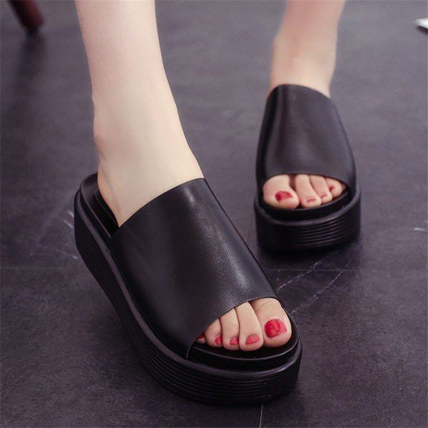 Fish Mouth Pure Color Slip On Platform Outdoor Slippers Sandals