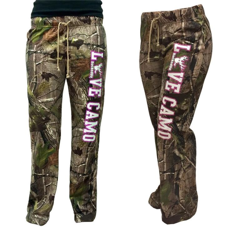 "BuckedUp Raw Edge CAMO lounge pants. Another item from our ""LOVE CAMO"" collection. APG Realtree Camo with LOVE CAMO down the left leg. Drawstring waist with no"