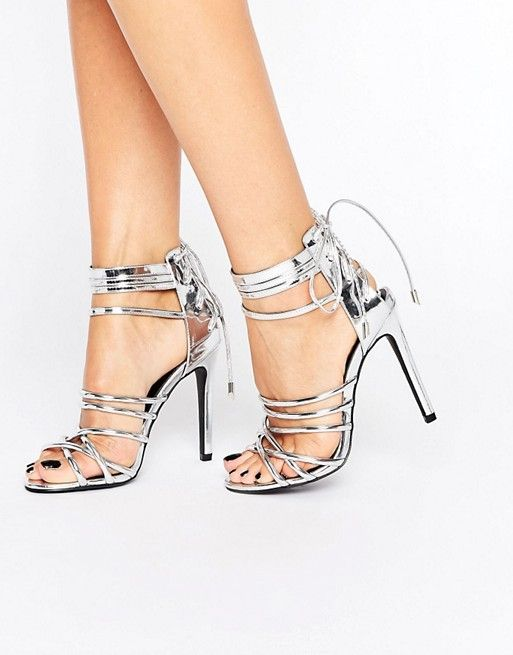 Missguided | Missguided Metallic Strappy Heeled Gladiators