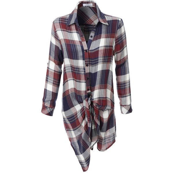LE3NO Womens Lightweight Long Sleeve Tie Front Plaid Tunic Shirt (£28) ❤ liked on Polyvore featuring tops, tunics, shirts, long sleeve tunic, tie front shirt, tie front top, long-sleeve shirt and long sleeve shirts
