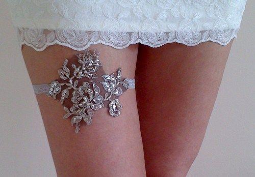 Gray silver beaded elegant bridal garter