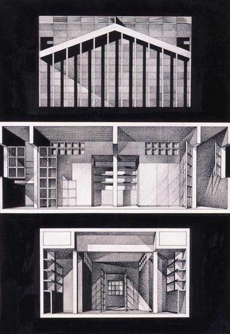 """Franco Purini, """"L'alloggio"""", 1978, Inchiostro su carta, 50x35 cm #sketch"""