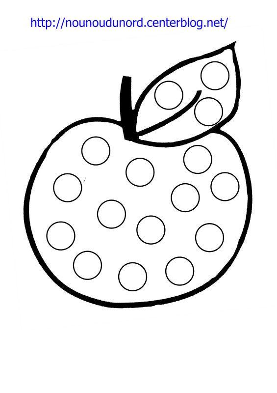 Coloriage à gommettes la pomme  dessiné par nounoudunord