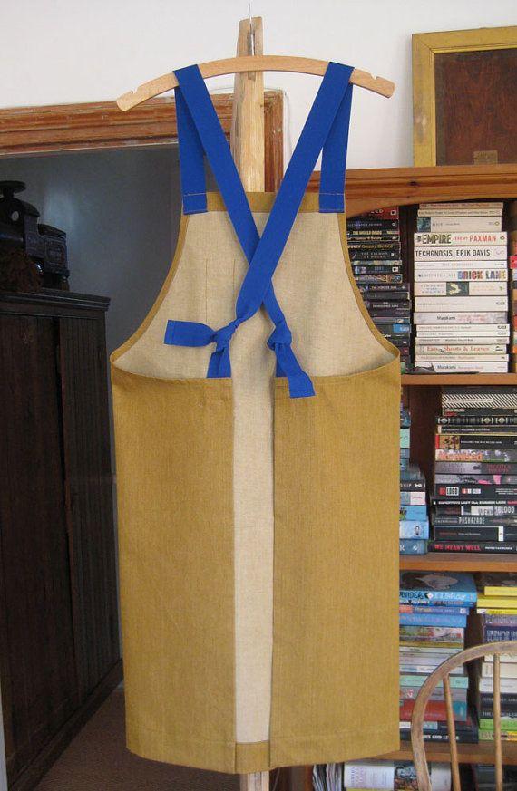Ochre denim adjustable work apron with bright by ADogLikeSparky