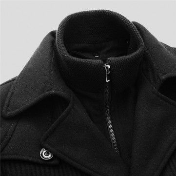 Men's Winter Parka Detachable Double Layer Collar Wool Coat - NewChic