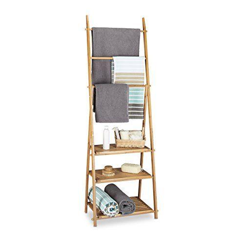 Stunning Relaxdays Handtuchhalter Bambus Faltbar kleiner Kleiderst nder Ablagen Handtuchstangen