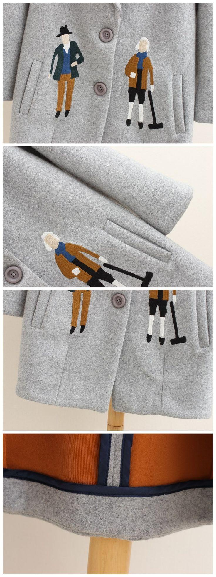 2017 осень женщины пальто, Европейская мода Женский шерстяной куртки Вышивка пиджаки зима серые пальто кашемировые пальто femme C0361 купить на AliExpress