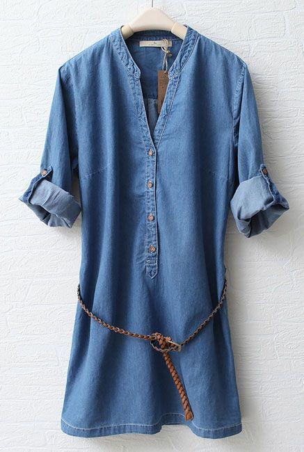 Blue Stand Collar Long Sleeve Denim Dress - Sheinside.com: Love the over sized bf tee shirt look this dress has!