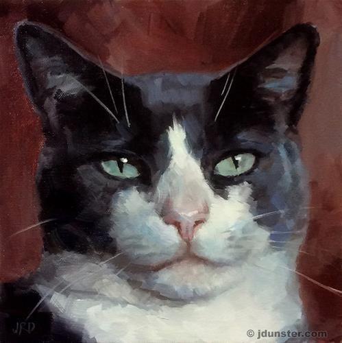 """Daily Paintworks - """"Smug Cat"""" - Original Fine Art for Sale - © J. Dunster"""