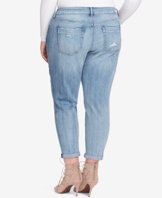 Jessica Simpson Trendy Plus Size Mika Ripped Jeans - Black 24W
