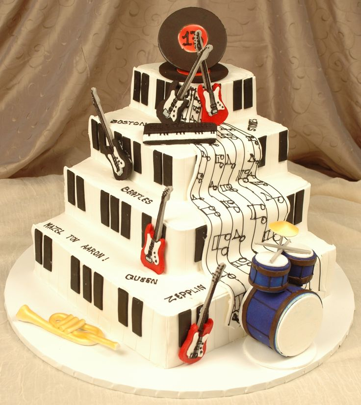 Four layer square fondant iced cake with hand designed ...