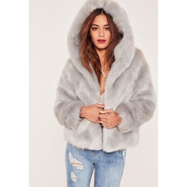 Caroline Receveur Grey Hooded Faux Fur Coat ($90) ❤ liked on Polyvore featuring outerwear, coats, gray coat, gray faux fur coat, faux fur hooded coat, fake fur coats and grey hooded coat