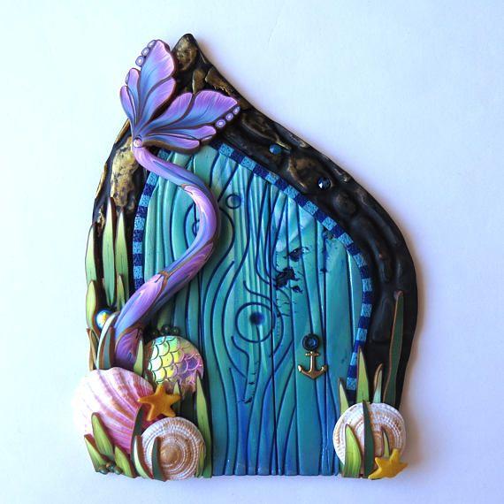Mermaid Tale Fairy Door Polymer Clay Miniature Fairy Garden