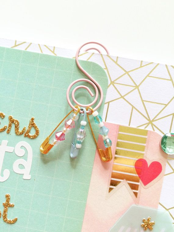 Planner paperclip S shaped clip safety pins by PocketfulofSparkles