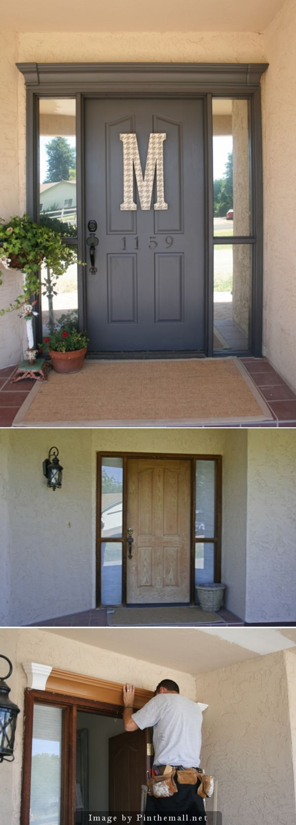 Before-After of rental front door. Foam-type crown molding Lowe's installed on top. Benjamin Moore Iron Mountain satin exterior paint. Big letter M from Joann's painted in hounds tooth pattern.