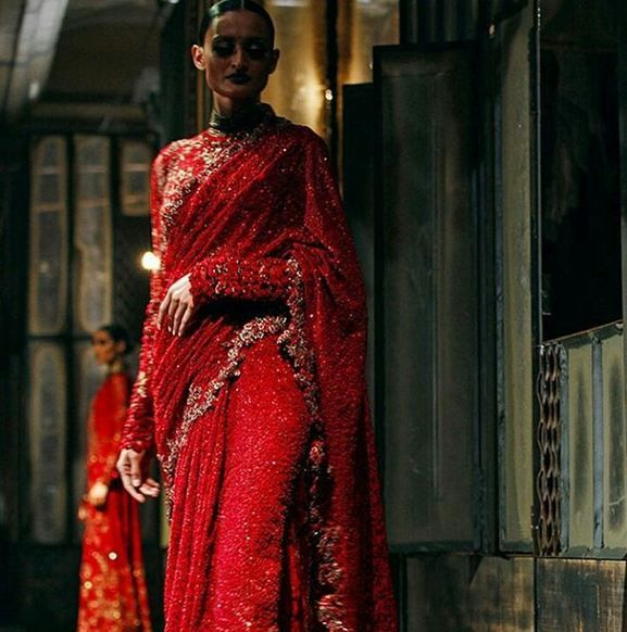 Obsessed with Red? This time we came with up dark red saree with glitters and floral design.   Red is the symbol of love, symbol of Indian Bride, symbol of married.