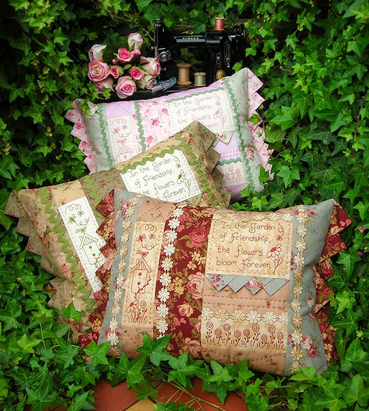 """""""Garden of friendship"""" by Sally Giblin of The Rivendale Collection. Verse reads: In the garden of friendship, the flowers bloom forever. Finished cushion size: 22"""" x 15"""" #TheRivendaleCollection stitchery, appliqué and patchwork patterns. www.therivendalecollection.com.au"""