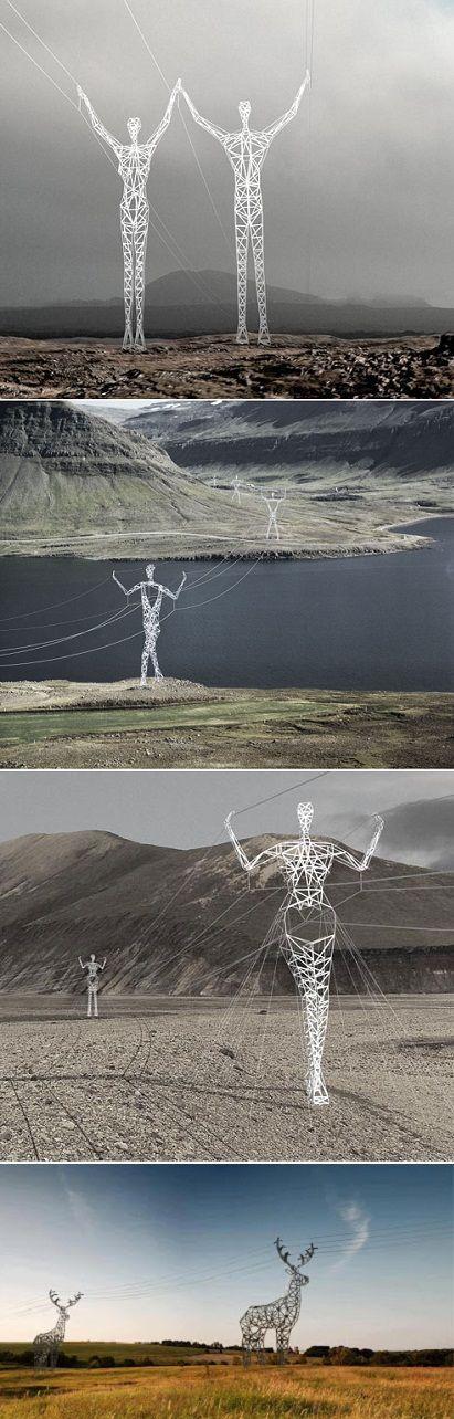 Islandia - postes eléctricos-humanos como renos y similares- impresionante arte conceptual.