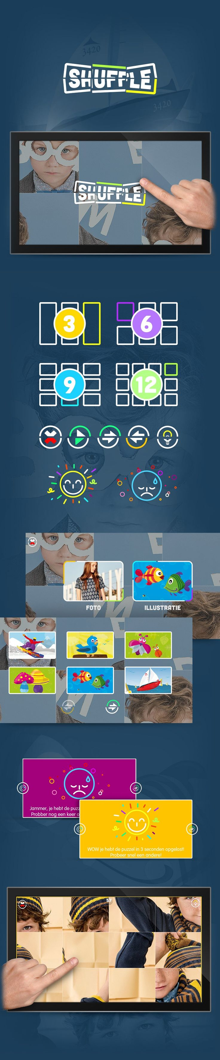 """Shuffle is a puzzle matching game built by Merixstudio for digital touch displays.  The player taps on the screen to choose between 4 difficulty levels. Photos or illustrations that appear are split into multiple pieces - the goal is to try to solve the puzzle within a given time. If the player gets stuck, she/he can push the """"Tip"""" button to preview full image. Developed in #HTML5/#Canvas, Shuffle can be played on desktop and digital signage touch devices."""