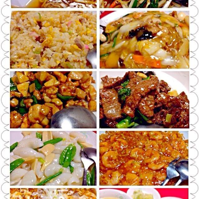 お子様ラーメン,チキンのカシューナッツ炒め,牛ロースと菜の花の炒め物x2 レバニラ,麻婆豆腐,炒飯,餡掛焼きそば,モンゴウイカの塩炒め,海老チリx3  毎度外せないメニューはたっぷり、その他挑戦(お腹の空きに)出来るもの注文で今宵もお腹いっぱいご馳走様でした(*^人^*) - 44件のもぐもぐ - Birthday party in February2月の誕生日会 by Ami