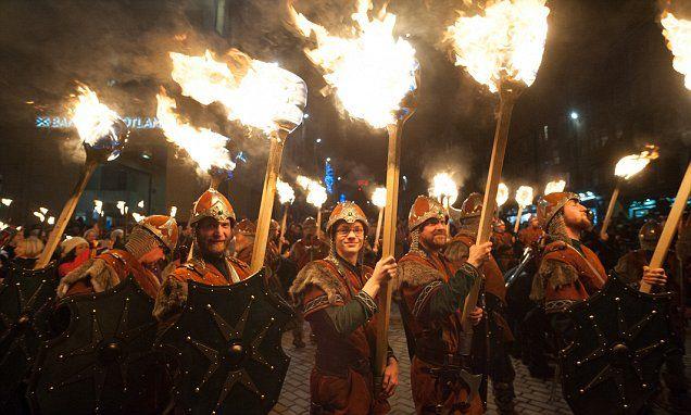 Torch bearing Vikings parade in Edinburgh for the start of Hogmanay