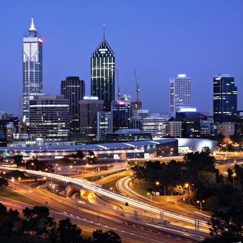 City skyline view of Perth, WA