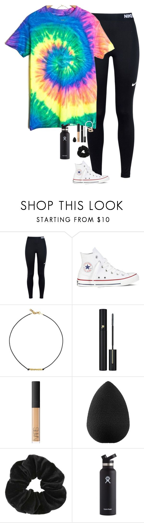 """Tye dye Tuesday"" by halledaniella ❤ liked on Polyvore featuring NIKE, Converse, Vanessa Mooney, Lancôme, NARS Cosmetics, beautyblender, Miss Selfridge and Hydro Flask"
